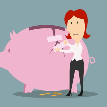 Emergency Savings Fund   illustration of a woman patching up a piggy bank