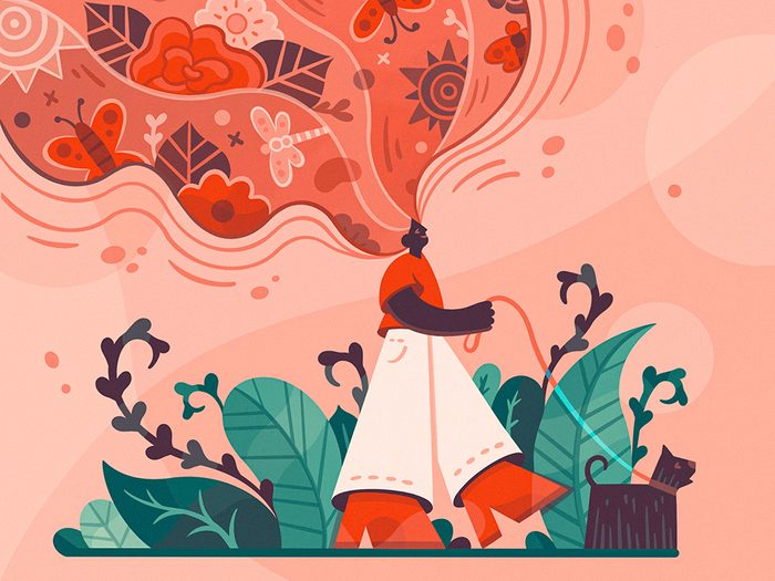 Awe Walking   illustration of a woman walking a dog with her mind expanding