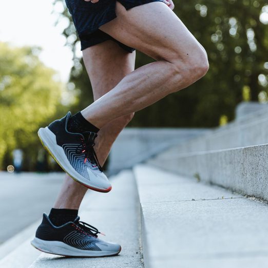 muscle imbalance | Close Up Of Legs Of A Sporty Man Training Up On The Stairs