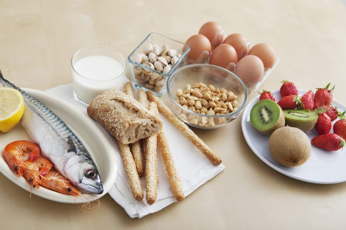 common food allergies | table with common food allergens on it