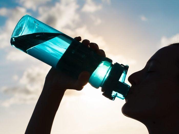 Woman,drinking,water.
