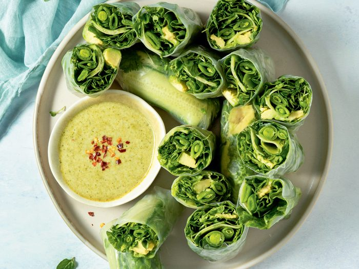 fresh rolls | All Green Fresh Rolls With Green W Curry Dipping Sauce