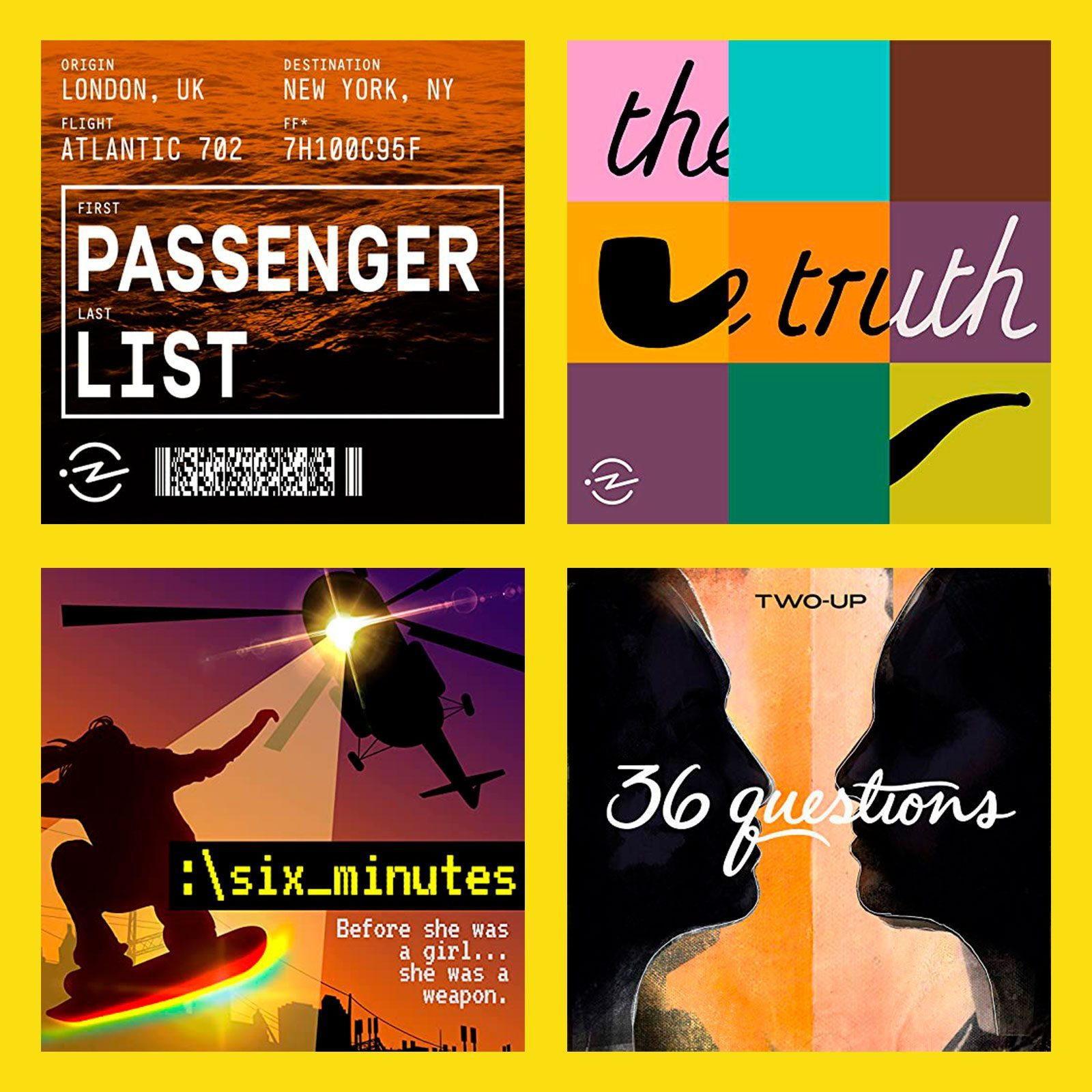 Best New Fiction Podcasts; collage of four podcast covers