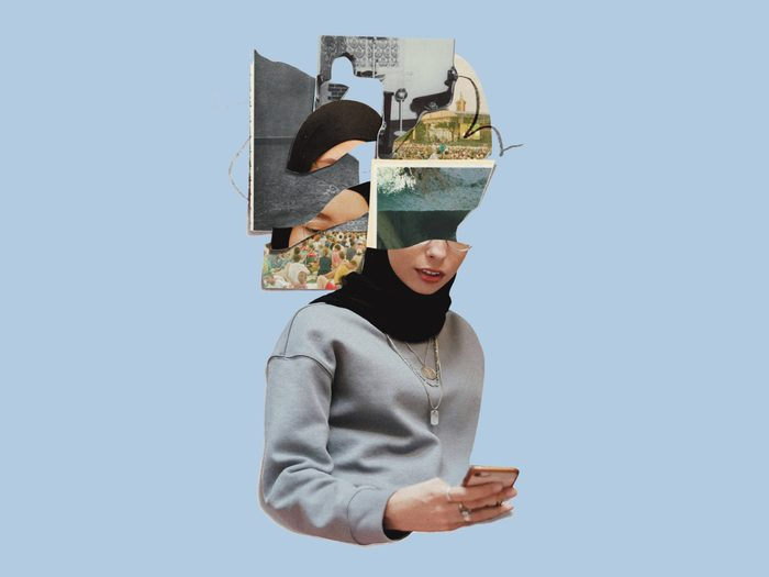 post-pandemic social anxiety | collage of a woman on her phone, her head is all scrambled as she experiences FOMO