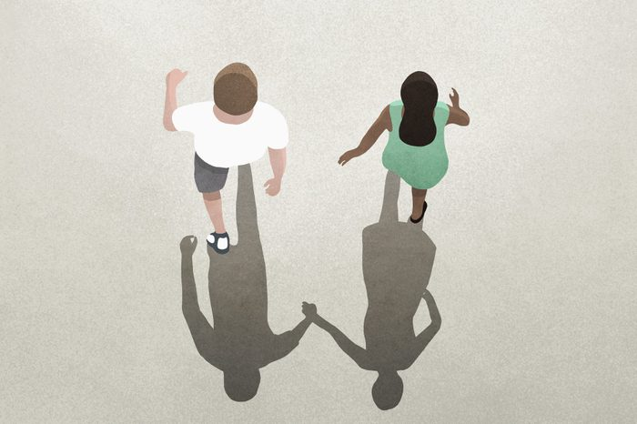 View From Above Shadow Of Couple Holding Hands-situationship