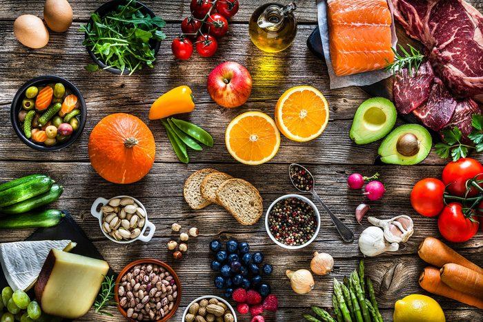 assortment of healthy foods-essential amino acids