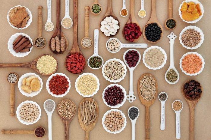 Large,superfood,sampler,for,good,health,in,spoons,and,bowl