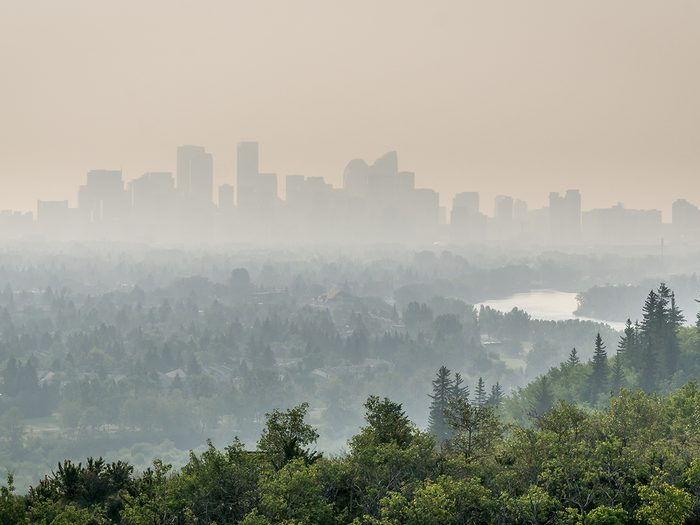 Calgary,downtown,covered,by,wildfire,smoke,,alberta,,canada
