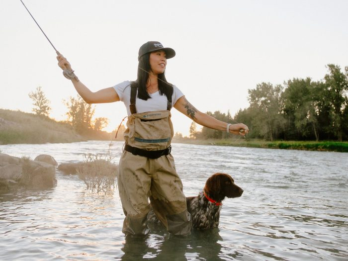 great hobbies | fly fisher ruth lee with her dog fly fishing