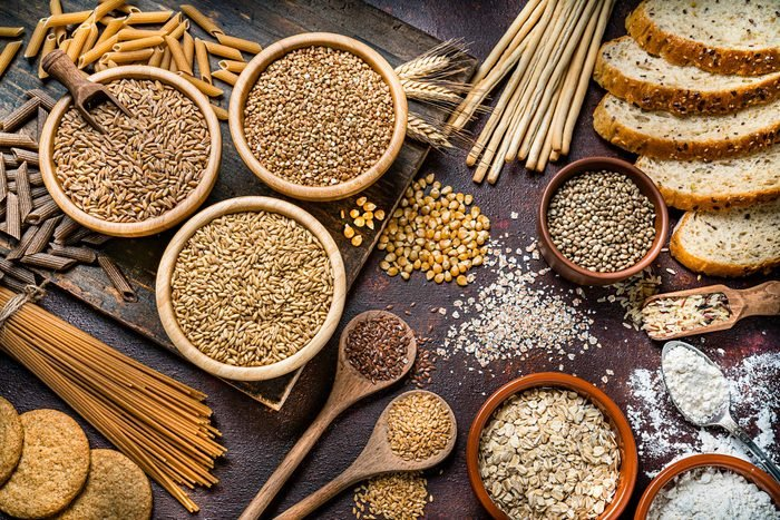 Healthy Eating Wholegrain Food Still Life Shot On Rustic Wooden Table gluten free grains