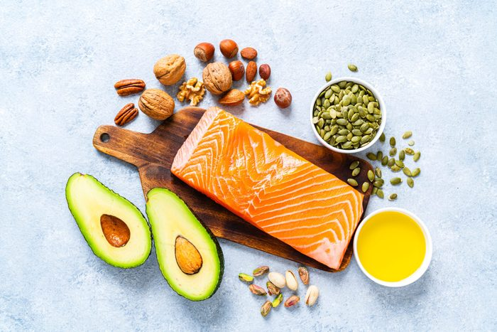 Food With High Content Of Healthy Fats Overhead View