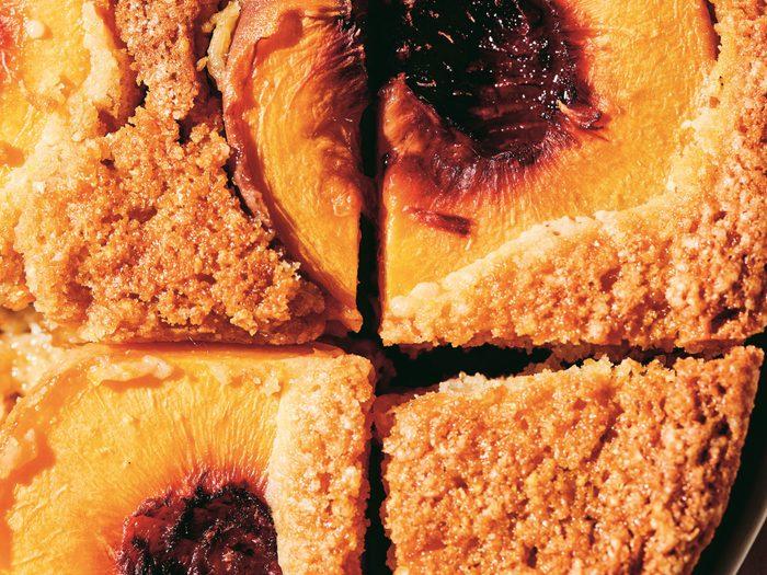 peach cake recipe   close up image of polenta peach cake recipe