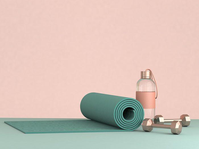 3d,render,illustration,,sport,fitness,equipment,,female,concept,,yoga,mat,