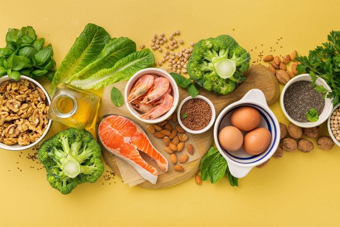 omega 6 | Omega 3 Food Sources And Omega 6 On Yellow Background Top View Foods High In Fatty Acids Including Vegetables Seafood Nut And Seeds