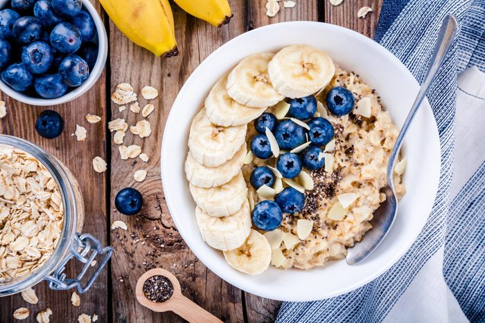Breakfast Oatmeal With Bananas Blueberries Chia Seeds And Almonds