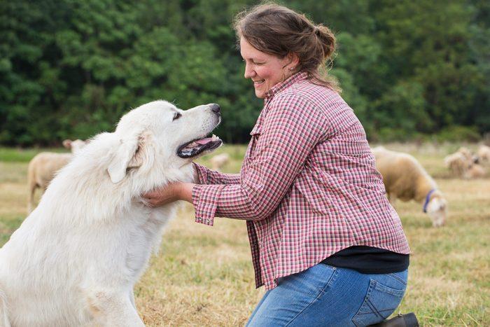 Caucasian Farmer Petting Dog In Field 2