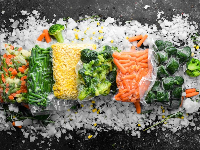 how to freese and thaw foods   frozen foods   Assortment,of,frozen,vegetables,on,ice.,stocks,of,food.,top